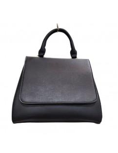 Black Eco Leather Bag, Short Handles. Fall-Winter 2020 season