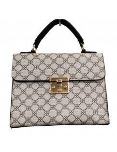 Eco-leather and fabric handbag.