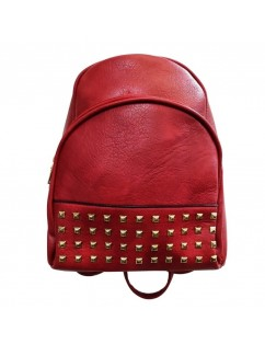 Red Backpack Bag with Gold Studs. Women Girls Teenagers. Anti-Theft - Casual.