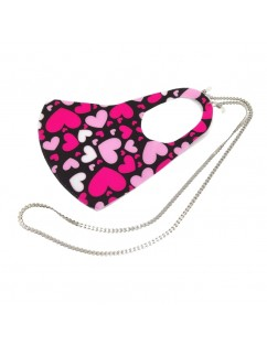 Neoprene Pink Hearts Mask with Silver Chain.