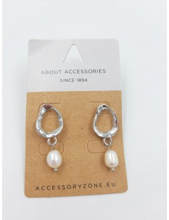 Chiseled silver hoops with...