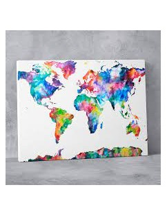 Multicolor World Map Painting