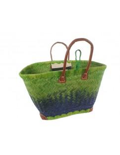 Green raffia tote bag with...