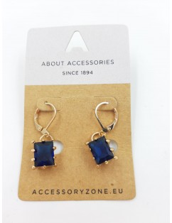 Earrings with blue stone set