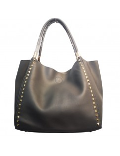 Black Ecological Leather Bag with gold studs. New season.