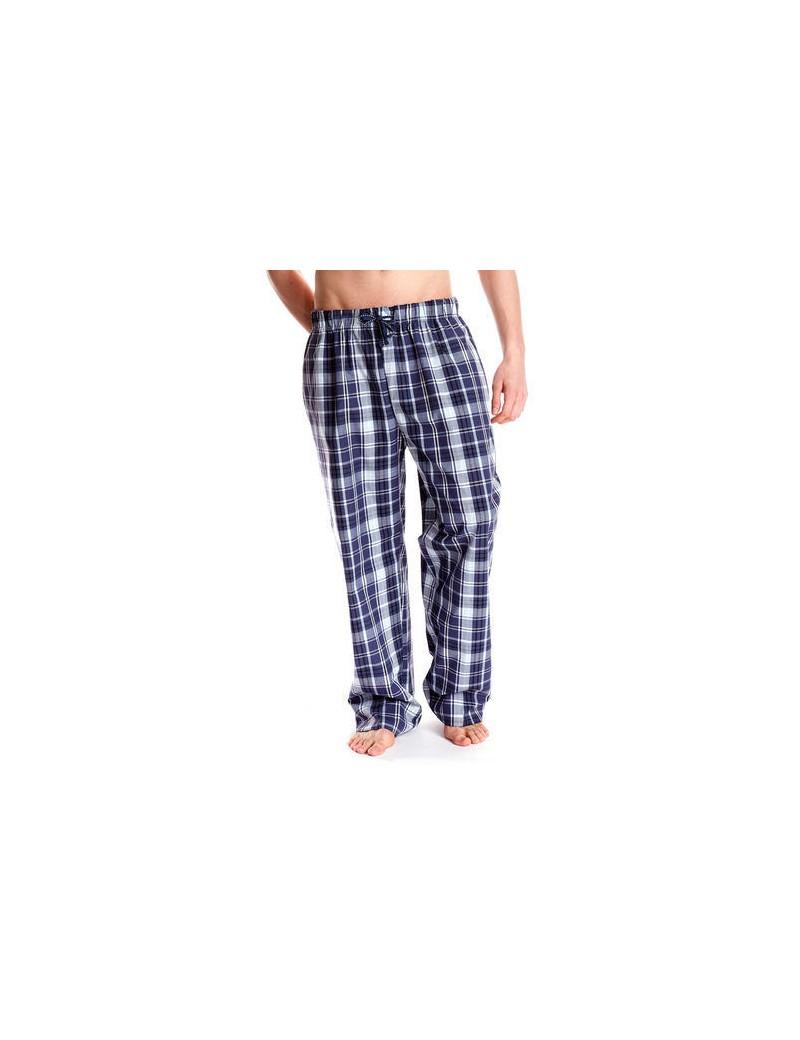 Pantalon De Pijama Hombre De Algodon A Cuadros Azul